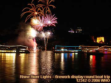 Firework display round boat trip Rhine River Lights, Golden wine autumn and Swimming Federweisser vintage festival on the Middle Rhine River in Germany