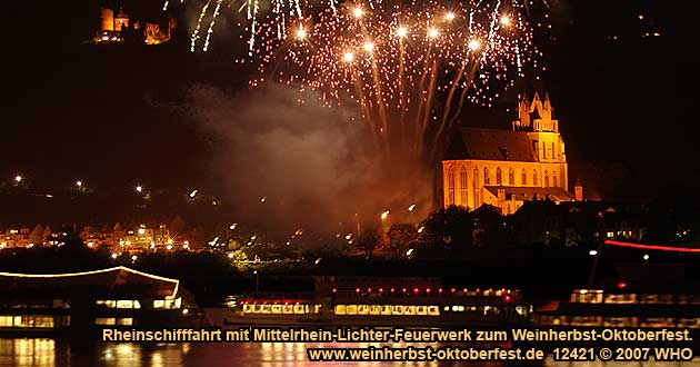 Firework display round boat trip Rhine River Lights, Golden wine autumn and Swimming October festival on the Middle Rhine River in Germany