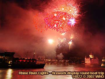 Firework display round boat trip Rhine River Lights, Red wine festival in Bacharach in Germany