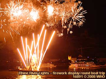 Firework display round boat trip Rhine River Lights, Rhine River meadow festival in Bacharach, in Germany.
