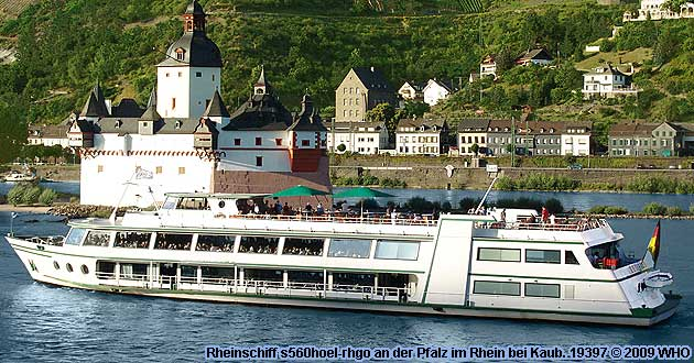 Firework display round boat trip Rhine River Lights, Wine festival summer night in Bacharach, Germany.