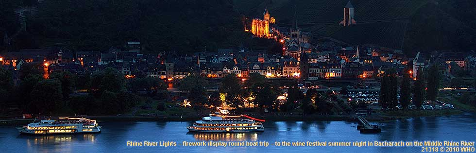 Rhine River Lights – firework display round boat trip – to the wine festival summer night in Bacharach on the Middle Rhine River