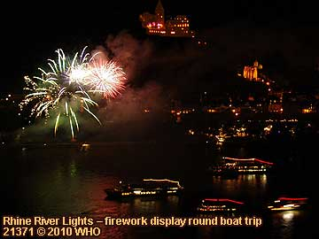 2 firework displays round boat trip Rhine River Lights, Wine festival summer night in Bacharach, Germany.