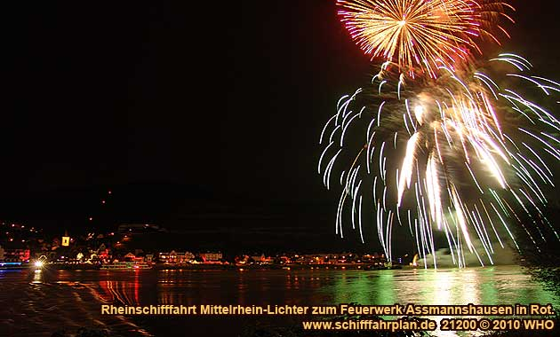 Firework display round boat trip Rhine River Lights, Red wine festival in Assmannshausen in Germany