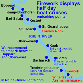 Rhine River Lights boat cruise to the red wine festival in Assmannshausen