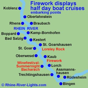 Rhine River Lights boat cruise to the wine festival summer night in Bacharach and firework display on the Rhine River